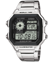 Silver digital watch with stainless steel bracelet