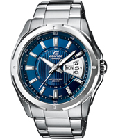 44.80mm Steel & Blue Watch with Date