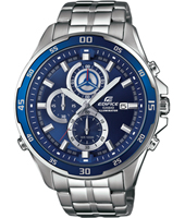 47.20mm Silver mens chrono with blue dial and steel bracelet