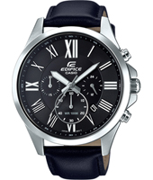 EFV-500L-1AVUEF  47.20mm Silver chrono with black leather strap
