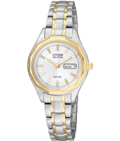 Elegance Eco-Drive 26mm Bicolor Ladies Watch with DayDate