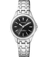 Radio Controlled Eco-Drive Steel & Black Ladies Watch