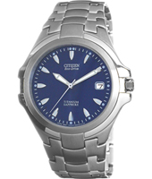 Titanium Eco-Drive 38mm Titanium & Blue Watch with Date & Sapphire Crystal