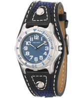Boys Sport Silver boys watch with dark blue leather/textile strap