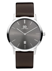 40mm Steel design watch with brown dial and leather strap