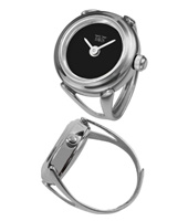 Sofia  17mm Shiny silver ring watch with black dial