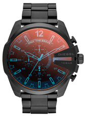 Mega Chief 52mm Black XL Chrono with Iridescent Crystal, Steel Bracelet
