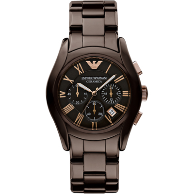 Emporio Armani Valente-Ceramica-Chrono-XL-Brown AR1446 - 2011 Fall Winter Collection