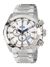Silver & White Chronograph Watch