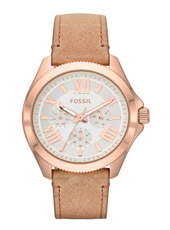 Cecile 40mm Rose Gold & Silver Multifunction Ladies watch. Leather Strap