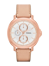 Chelsey 39mm Rose Gold & Silver Multifunction Ladies watch. Leather Strap