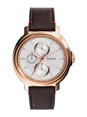 Chelsey 39mm Rose gold day/date ladies watch with brown leather strap