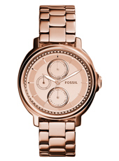 Chelsey 39mm Rose gold multifunction ladies watch with crystals