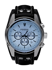 Coachman  44mm Steel & Blue Chrono with Date on Cuff Strap