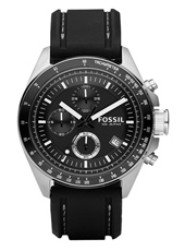 CH2573 Decker  44mm Modern Black Chrono with Date, Rubber strap