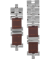 ES1855 5mm Brown Leather & Coated Stainless Steel Bracelet