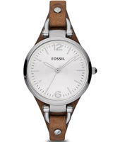 Georgia 32mm Silver Ladies Watch with Brown Leather Strap