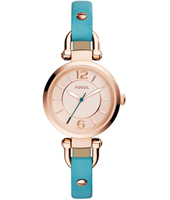 Georgia Mini 21mm Rose Gold ladies watch with turquoise leather strap