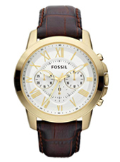 Grant  44mm Gold & White Chrono on Brown leather Strap