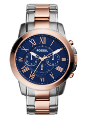 Grant 44mm Rose Gold & Blue Gents Chronograph