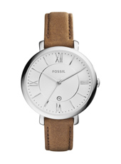ES3708 Jacqueline 36mm Silver Watch, Brown Strap