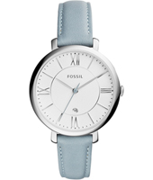 Jacqueline 36mm Silver ladies watch on pastel blue strap