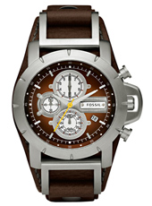 Jake 45mm Steel & Brown Chrono with Date on Cuff Strap