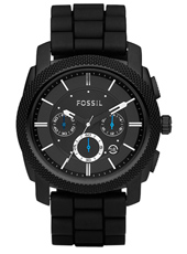 Machine  45mm Black Chrono with date on Rubber Strap