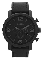 JR1354 Nate 49mm Large All Black Chrono with Date on Leather Strap