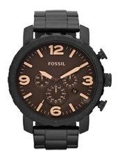 JR1356 Nate  49mm Large Black & Brown Chrono with Date
