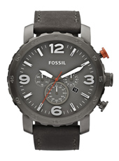 Nate 49mm Large dark Grey Chrono with date on Grey Leather Strap