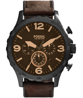 JR1487 Nate  49mm Black & Dark Brown Chronograph