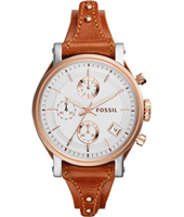 ES3837 Original Boyfriend 38mm Silver & rose ladies watch on brown leather strap