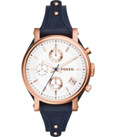 ES3838 Original Boyfriend 38mm Rose gold ladies chronograph with blue leather strap