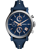 ES4113 Original Boyfriend 38mm Blue ladies chronograph with leather strap