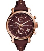 ES4114 Original Boyfriend 38mm Rose gold ladies chronograph with leather strap