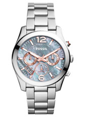 Perfect Boyfriend 39mm Silver ladies watch with MOP dial and steel bracelet