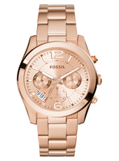 ES3885 Perfect Boyfriend 39mm Rose gold multifunction watch with steel bracelet