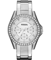 Riley 38mm Silver Multifunction Ladies Watch with Crystals
