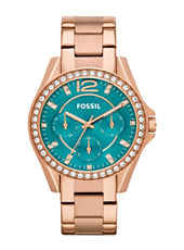 Riley 38mm Rose & Turquoise Multifunction Watch with Crystals