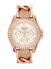 Riley 38mm Rose Gold Multifunction Ladies watch with Crystals