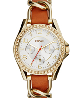 Riley 38mm Gold Multifunction Ladies Watch with Crystals