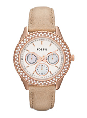 Stella  37mm Rose Gold Multifunction Ladies watch with Crystals & leather strap