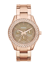 Stella  37mm Rose Gold, Brown & Crystals Multifunction Ladies Watch