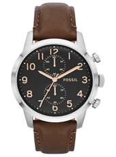 Townsman  44mm Classic Steel & Black Chrono, Rose details, Brown leather strap