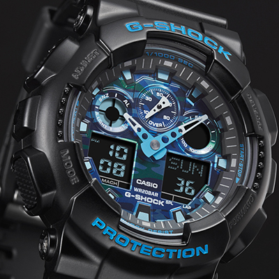G shock ga 100cb 1aer watch cool blue for Watches g shock