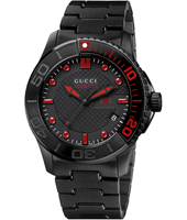 YA126230 G-Timeless XL 45mm Black Coated Gents Watch with Date & Red Accents