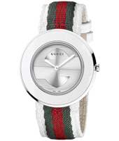 YA129411 U-Play  35mm White & Steel Ladies Watch on Nylon on Leather Strap in the Gucci Colors