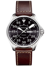 Aviation Pilot  42mm Steel & Black Day/Date Automatic Pilot Watch