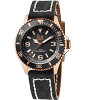 Ice-Canvas Rose gold watch with black canvas strap